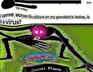 cornn flaek 😋😌💯👌🏼: icame across this piture onm grandson's laptop is  ta virus?  nflaek cornn flaek 😋😌💯👌🏼