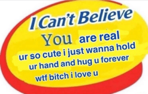 Bitch, Cute, and Love: ICan't Believe  whole  You are real  ur so cute i just wanna hold  ur hand and hug u forever  wtf bitch i love u