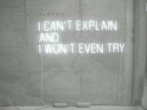 Icant: ICAN'T EXPLAIN  AND  IWON'T EVEN TRY