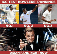 Asian, Memes, and Test: ICC TEST BOWLERS' RANKINGS  NO.1  No.1  NO. 2  NO.3  ASIAN FANS RIGHT NOW Ravindra Jadeja, Rangana Herath & Ravichandran Ashwin are the top 3 bowlers in the latest ICC Test bowler rankings.