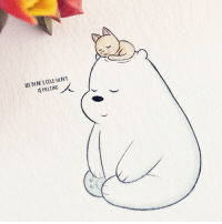 Memes, Tumblr, and Bear: ICE BEAR S COLD HEART  IS MELTING When your pet falls asleep on you, and they're so comfy that you just cancel all your plans 🐱💕 CuddleUpDay WeBareBears IceBear . 🎨: artmysteriacyber-Tumblr