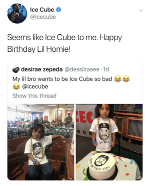 Ice Cube being wholesome af by thisworldisacoldone MORE MEMES: Ice Cube  @icecube  Seems like lce Cube to me. Happy  Birthday Lil Homie!  desirae zepeda @dessiiraaee 1d  My lil bro wants to be Ice Cube so bad  @icecube  Show this thread Ice Cube being wholesome af by thisworldisacoldone MORE MEMES