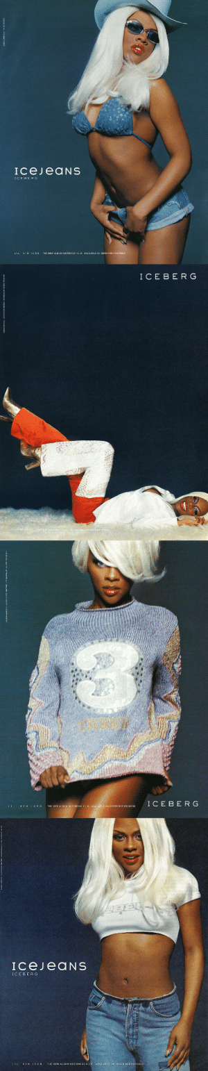 lilkimseason:  LIL' KIM ICED for Italian Luxury Fashion Design House ICEBERG (2000).: IcejeaNS  ICEBERG  LIL KIM ICED THE NEW ALBUM NOTORIOUS K..M. AVAILABLE ON QUEEN BEE RECORDS   I C E BE RG  E NEW ALBUM HOTO  LE ON QUEEN BEE RECORDS   I C E B E RG  L I L ' K I M I C E D  THE NEW ALBUM NOTORIOUS K.I.M. AVAILABLE ON QUEEN BEE RECORDS   ICEBERG  L I L' K 1 M  C E D  THE NEW ALBUM NOTORIOUS K.I.M. AVAİLABLE 0N QUEEN BEE RECORDS lilkimseason:  LIL' KIM ICED for Italian Luxury Fashion Design House ICEBERG (2000).