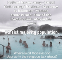Crime, Jail, and Memes: Iceland has no army o Jailed  their corrupt bankers o Economy  is booming o Violent  crime is rare o One of the  lowest crime rates in the  world  Atheist majority population.  Where is all that evil and  depravity the religious talk about?