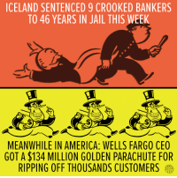 Messed up.: ICELAND SENTENCED 9 CR00KED BANKERS  TO 46 YEARS IN JAIL THIS WEEK  MEANWHILE IN AMERICA: WELLS FARGO CEO  GOTA$134 MILLION GOLDEN PARACHUTE FOR  RIPPING OFF THOUSANDS CUSTOMERS Messed up.