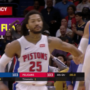 DERRICK ROSE 🌹  GAME WINNER!   21 PTS (team high) 7 AST (team high)   https://t.co/RCLzPA97Vk: ICY  FLA  LL  PISTONS  25  103 4th Qtr  103  PELICANS  :00.0  Timeouts: 1 DERRICK ROSE 🌹  GAME WINNER!   21 PTS (team high) 7 AST (team high)   https://t.co/RCLzPA97Vk