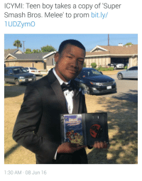 me irl: ICYMI: Teen boy takes a copy of Super  Smash Bros. Melee to prom bit.ly/  1UDZymo  1:30 AM 08 Jun 16 me irl