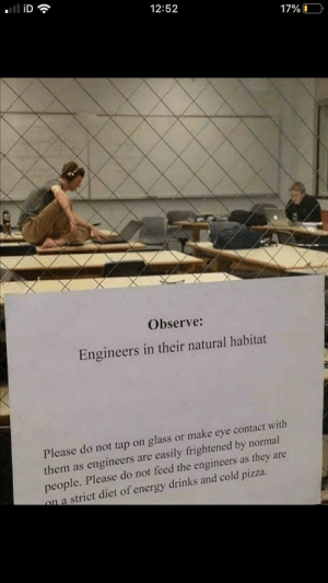 Meirl: iD  12:52  17%O  Observe:  Engineers in their natural habitat  Please do not tap on glass or make eye contact with  them as engineers are easily frightened by normal  people. Please do not feed the engineers as they are  on a strict diet of energy drinks and cold pizza. Meirl