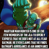 I'd be pretty annoyed too if everyone was talking about how powerful some human is when I could easily beat him if I tried🤔 -- Do you agree with this? Or do you think Batman could wreck Martian Manhunter?: I'd be pretty annoyed too if everyone was talking about how powerful some human is when I could easily beat him if I tried🤔 -- Do you agree with this? Or do you think Batman could wreck Martian Manhunter?