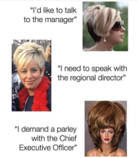 """That escalated quickly, Susan. (@stuffthatlookslikestuff): """"I'd like to talk  to the manager  """"I need to speak with  the regional director""""  """"I demand a parley  with the Chief  Executive Officer"""" That escalated quickly, Susan. (@stuffthatlookslikestuff)"""