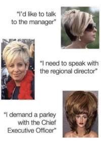 """Memes, Who, and Via: """"i'd like to talk  to the manager""""  """"I need to speak with  the regional director""""  """"I demand a parley  with the Chief  Executive Officer Who's in charge here via /r/memes https://ift.tt/2PObObz"""