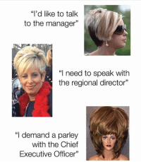 """Speak, Director, and Manager: """"i'd like to talk  to the manager""""  """"I need to speak with  the regional director'""""  1  """"I demand a parley  with the Chief  Executive Officer"""""""