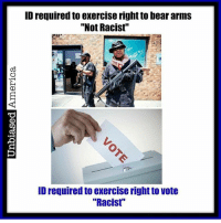 """ID required to exercise right to bear arms  """"Not Racist'  ID required to exercise right to vote  """"Racist'' Are gun laws racist because they require an ID? republican democrat libertarian liberal conservative trump nevertrump freedom liberty usa"""