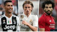 Who wins FIFA's best player of the year?  🔁 for Modric ♥️ for Ronaldo ↩️ for Salah https://t.co/LULtYd33PS: ID  Standard  Charter  Jeep  Emira  Getty Who wins FIFA's best player of the year?  🔁 for Modric ♥️ for Ronaldo ↩️ for Salah https://t.co/LULtYd33PS