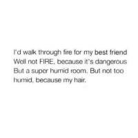 Best Friend, Fire, and Memes: I'd walk through fire for my best friend  Well not FIRE, because it's dangerous  But a super humid room. But not too  humid, because my hair.