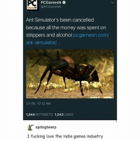 IDC PCGamesN  @PCGamesN  Games N  Ant Simulator's been cancelled  because all the money was spent on  strippers and alcohol  pcgamesn.com/  ant-simulator...  2/1/16, 10:12 AM  1,844  RETWEETS 1,543  LIKES  springtwerp  I fucking love the indie games industry Money well spent . . . . . gamer videogame gamememes dankmeme lmao lol game videogames cod gaming games infinitewarfare callofduty ps playstation nintendo xbox meme memes indie strippers lel indiegames ants antsimulator