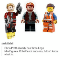 "Chris Pratt, Lego, and Tumblr: IDE  metultelet:  Chris Pratt already has three Lego  MiniFigures. If that's not success, I don't know  what is. <p><a href=""http://memehumor.net/post/171121303723/how-to-define-success"" class=""tumblr_blog"">memehumor</a>:</p>  <blockquote><p>How to define success</p></blockquote>"