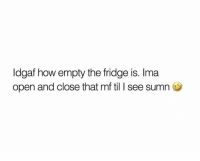 Time, Idgaf, and Single: Idgaf how empty the fridge is. Ima  open and close that mf til I see sumn Every single time.. 🤣💯 https://t.co/HuU0gK8Xl1