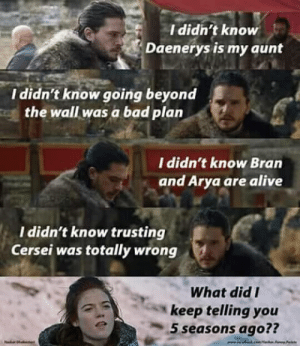 game-of-thrones-fans:  You know nothing Jon snow: Ididh't know  Daenerys is my aunt  I didn't know going beyond  the wall was a bad plan  I didn't know Bran  and Arya are alive  I didn't know trusting  Cersei was totally wrong  What did I  keep telling you  5 seasons ago?? game-of-thrones-fans:  You know nothing Jon snow