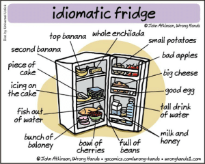Bad, Banana, and Cake: idiomatic fridge  Tohn Atkinson, Wrong Hands  Whole enchilada  small potatoes  second banana  bad apples  piece of  big cheese  good egg  cake  cing on  the cake  fish out  of water  tall drink  of water  milk and  bunch of  baloney cherries beans  bowl of full ofhoney  Tohn Atkinson, Wrong Hands gocomics.comlwrong-hands wronghands1.com