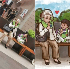 Cute, Grandma, and Tumblr: idlanddiaz awesomacious:  Someone made a drawing of this cute grandma and her grandson.