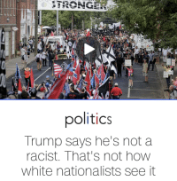 Politics, Duke, and Trump: IDLIN  NBC NEN5  Patricosm  politics  Trump says he's not a  racist. That's not how  white nationalists see it