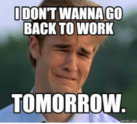 Memes, Work, and Guess: IDO  WANNA GO  BACK TO WORK  TOMORROW  COM Guess what tomorrow is.....😂
