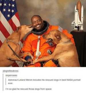 Dogs, Nasa, and Omg: idogislikeaboss:  ixpenceee  Astronaut Leland Melvin Includes his rescued dogs in best NASA portrait  ever  I'm so glad he rescued those dogs from space Hes a true hero.omg-humor.tumblr.com