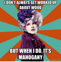 Memes, 🤖, and Generators: IDON'T ALWAYS GET WORKEDUP  ABOUT WOOD  BUT WHENIDO, ITS  MAHOGANY  erne generator net That is mahogany!!