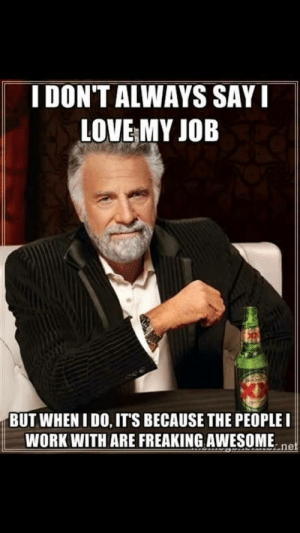 Love, Meme, and Work: IDON'T ALWAYS SAY  LOVE MY JOB  BUT WHENIDO, ITS BECAUSE THE PEOPLEI  WORK WITH ARE FREAKING AWESOME.ne Wholesome Meme posted by a coworker : wholesomememes