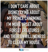 prince charming: IDON'T CARE ABOUT  DISNEY YING ABOUT  MY PRINCE CHARMING  I'M MORE UPSET ABOUT  FOREST DREATURES  AND THEIR UNWILLINGNESS  TO CLEAN MY HOUSE  Ef Postize  E f