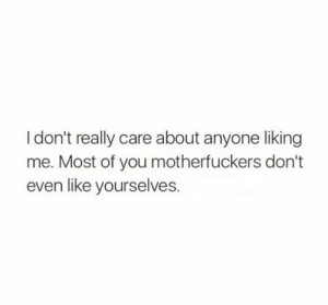 Motherfuckers: Idon't really care about anyone liking  me. Most of you motherfuckers don't  even like yourselves.