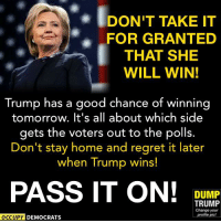 Wake up, Democrats, progressives and liberals! The polls are close and it's going to be a tight election. VOTE!: IDONT TAKE IT  FOR GRANTED  THAT SHE  WILL WIN!  Trump has a good chance of winning  tomorrow. It's all about which side  gets the voters out to the polls.  Don't stay home and regret it later  when Trump wins!  PASS IT ON!  DUMP  TRUMP  Change your  profile pic!  OCCUPY DEMOCRATS Wake up, Democrats, progressives and liberals! The polls are close and it's going to be a tight election. VOTE!