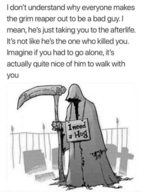 Being Alone, Bad, and Best Friend: Idon't understand why everyone makes  the grim reaper out to be a bad guy.I  mean, he's just taking you to the afterlife.  It's not like he's the one who killed you.  Imagine if you had to go alone, it's  actually quite nice of him to walk with  you  Ineed  Hug He could be my best friend