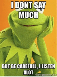 Kermit the Frog, Meme, and Memes: IDONTSAY  MUCH  BUT BE CAREFULL ILISTEN  ALOT  meme generator net