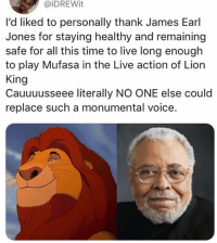 Crying, Memes, and Mufasa: @iDREWit  l'd liked to personally thank James Earl  Jones for staying healthy and remaining  safe for all this time to live long enough  to play Mufasa in the Live action of Lion  King  Cauuuusseee literally NO ONE else could  replace such a monumental voice. Who else is gonna be crying in the theater when Mufasa dies ✋🏻 lionking memesapp