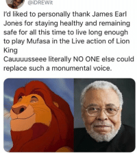 The kings voice: @iDREWit  l'd liked to personally thank James Earl  Jones for staying healthy and remaining  safe for all this time to live long enough  to play Mufasa in the Live action of Lion  King  Cauuuusseee literally NO ONE else could  replace such a monumental voice. The kings voice