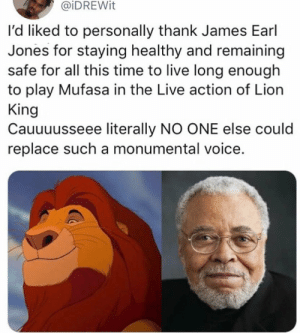 The kings voice by gotmilo11 MORE MEMES: @iDREWit  l'd liked to personally thank James Earl  Jones for staying healthy and remaining  safe for all this time to live long enough  to play Mufasa in the Live action of Lion  King  Cauuuusseee literally NO ONE else could  replace such a monumental voice. The kings voice by gotmilo11 MORE MEMES