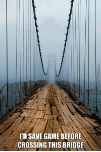 There's a jump scare or a quick time event here, I guarantee it.: IDSAVE GAME BEFORE  CROSSING THIS BRIDGE There's a jump scare or a quick time event here, I guarantee it.