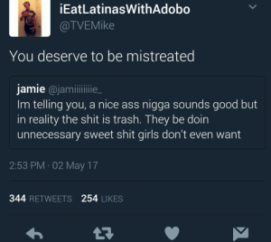 Treat your girl like shit just the way she likes it.: İEatLatinasWithAdobo  @TVEMike  You deserve to be mistreated  jamie @jamlie_  Im telling you, a nice ass nigga sounds good but  in reality the shit is trash. They be doin  unnecessary sweet shit girls don't even want  2:53 PM 02 May 17  344 RETWEETS 254 LIKES Treat your girl like shit just the way she likes it.