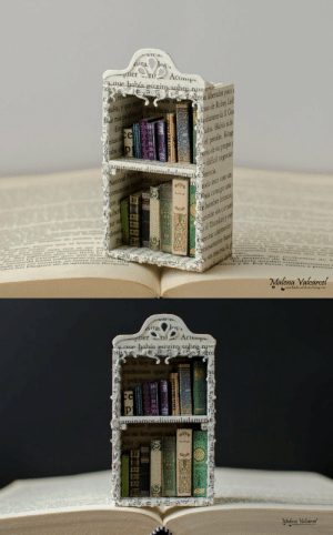 Books, Tumblr, and Blog: ier  Acum  ron liberados poco  so de Robey Lei  adurane l lI  ora de su propio  dificai  ..laia consigo una  Malena Valcarcel   a aue había escrit  ne  rc  ri  ai,  aoe  Malena Valcarcel sixpenceee:  Miniature library with tiny books. The tiny books can be arranged in different ways, they are loose and can be used individually. Link