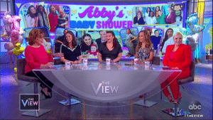 Abc, Memes, and Moms: IEW  BABYSHOWE  En  THE  EW  VIEW  THE  abc  SURPRISE ABBY! ❤️ Our Abby Huntsman is having twins so we filled the entire audience with moms to be to celebrate them all today. Hear how Abby is getting through her pregnancy with Joy Behar's lasagna! abcn.ws/2CcjBVI