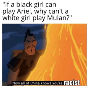 "Ariel, Mulan, and Reddit: ""If a black girl can  play Ariel, why can't a  white girl play Mulan?""  Now all of China knows you'reacIst Media, now featuring: Double Standards!"