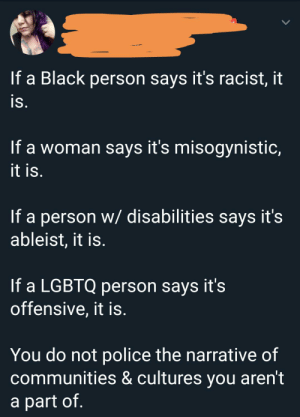 Police, Tumblr, and Black: If a Black person says it's racist, it  is.  If a woman says it's misogynistic,  it is.  If a person w/ disabilities says it's  ableist, it is.  If a LGBTQ person says it's  offensive, it is.  You do not police the narrative of  communities & cultures you aren't  a part of. But if a straight, white able bodied male says anything, burn him
