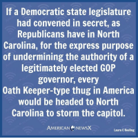 Memes, Thug, and North Carolina: If a Democratic state legislature  had convened in secret, as  Republicans have in North  Carolina, for the express purpose  of undermining the authority of a  legitimately elected G0P  governor, every  Oath Keeper-type thug in America  would be headed to North  Carolina to storm the capitol  AMERICAN NEWSX  Laura C Keeling Thugs [LK]