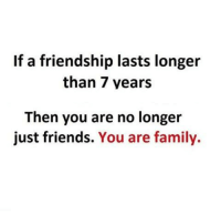 Family, Friends, and Memes: If a friendship lasts longer  than 7 years  Then you are no longer  just friends.  You are family. tag ur bestfriend