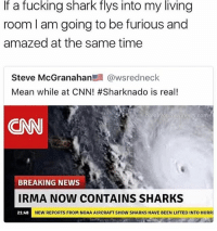 sharking: If a fucking shark flys into my living  room l am going to be furious and  amazed at the same time  Steve McGranahan髫@wsredneck  Mean while at CNN! #Sharknado is real!  .com  CNN  BREAKING NEWS  IRMA NOW CONTAINS SHARKS  NEW REPORTS FROM NOAA AIRCRAFT SHOW SHARKS HAVE BEEN LIFTED INTO HURRI