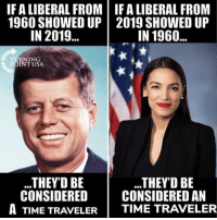 liberal: IF A LIBERAL FROM | IF A LIBERAL FROM  1960 SHOWED UP 2019 SHOWED UP  IN 2019..  IN 1960  TURNING  POINT USA  THEY'D BE  THEY'D BE  CONSIDERED I CONSIDERED AN  A TIME TRAVELER | TIME TRAVELER