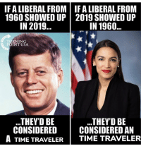 Time, Usa, and Epic: IF A LIBERAL FROM IFA LIBERAL FROM  1960 SHOWED UP2019 SHOWED UP  IN 2019..  IN 1960  TU  PC  RNING  OINT USA  .THEYD BE  CONSIDERED I CONSIDERED A  ..THEY'D BE  A TIME TRAVELER | TIME TRAVELER