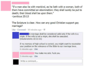 """Facepalm, Fuck You, and Marriage: """"If a man also lie with mankind, as he lieth with a woman, both of  them have committed an abomination: they shall surely be put to  death; their blood shall be upon them.""""  Leviticus 20:13  The Scripture is clear. How can any good Christian support gay  marriage?  Like Comment 19 minutes ago  A marriage shall be considered valid only if the wife is a  virgin. If the wife is not a virgin, she shall be executed.  (Deuteronomy 22:13-21)  If my memory of high school is correct, you might want to reconsider  your position on the relevance of the Bible to our marriage laws  6 minutes ago Like  You make me sick: Fuck you  3 minutes ago Like  Write a comment.. Know the Bible before you preach it"""
